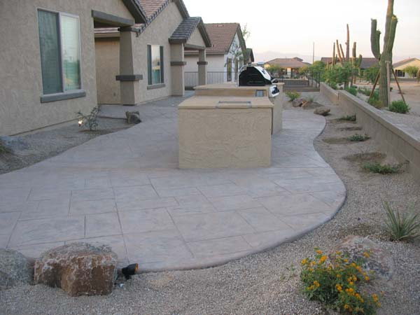 Stamped Concrete Patio. Flagstone Sidewalk