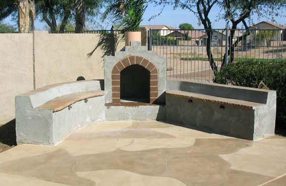fireplace with seating and acrylic overlay patio