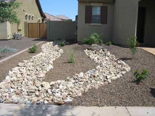 Arizona Landscape design with Riverbeds Xeriscape