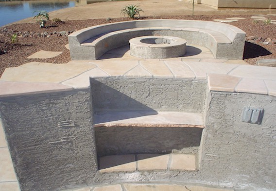 Fire Pit with seat wall and counter with block and flagstone