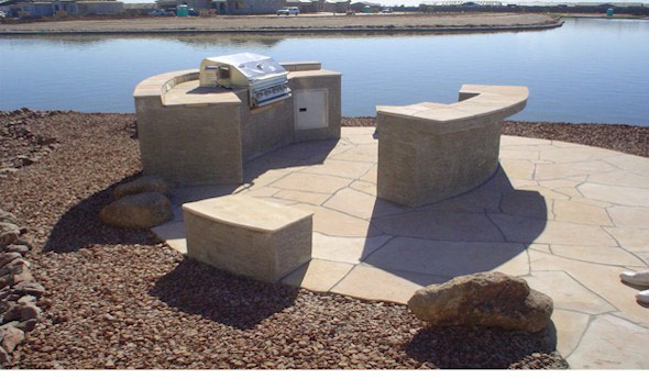 built in BBQ Fire Pit Flagstone patio