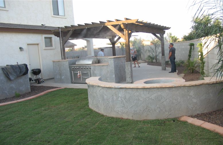 built-in bbq, fire pit, seat wall, misting system on gazebo