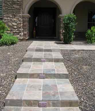 granite stone sidewalk stairs arizona aquatic landscaping