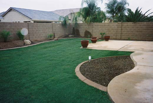 Arizona Tropical Landscape Design With Sod Palm Trees Plants Misting Systems