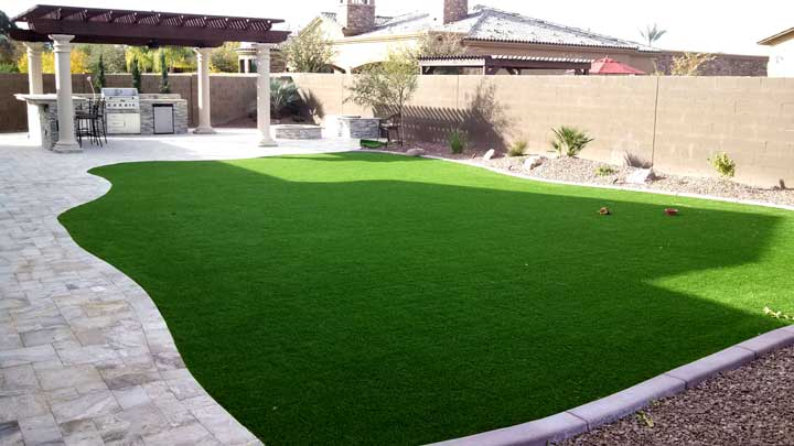 Backyard Landscape Synthetic Grass Travertine Bbq Pergola Sm