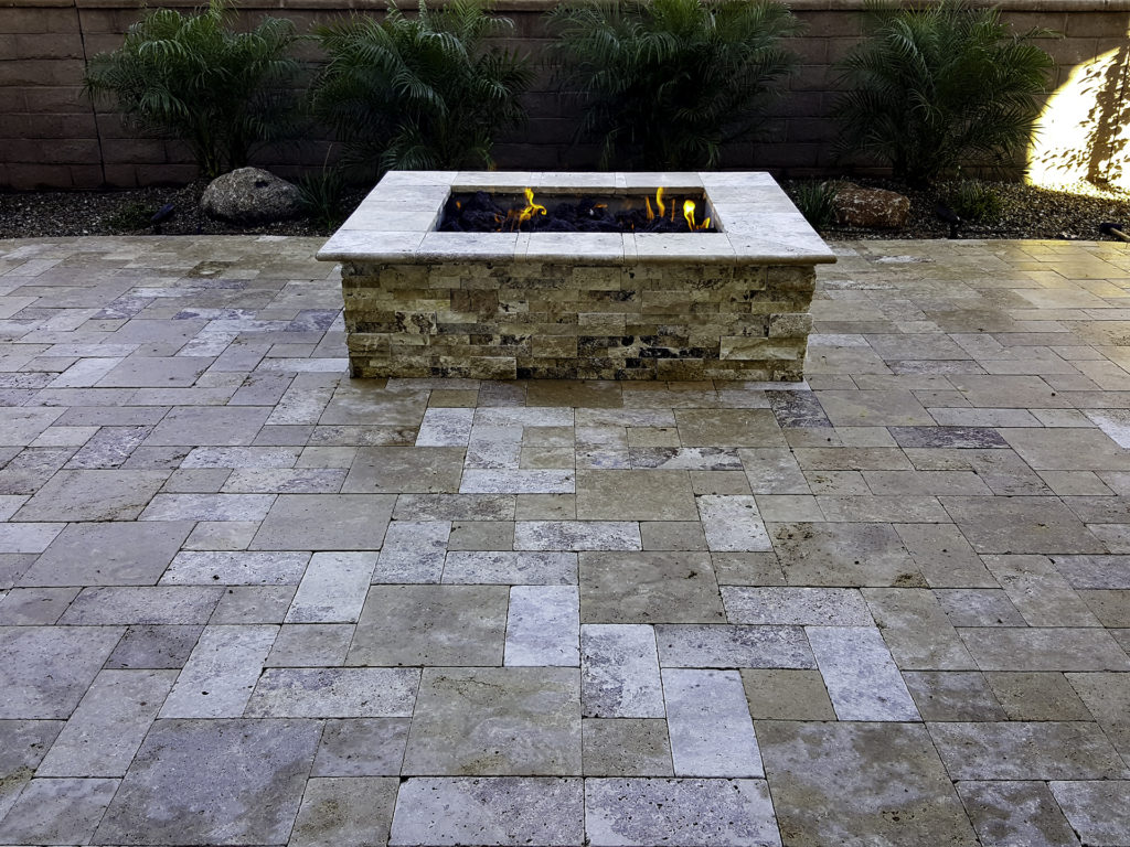 travertine-patio-gas-firepit