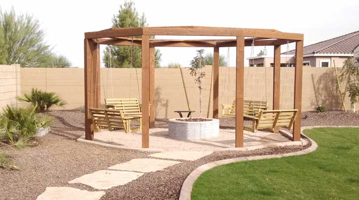 Backyard Gazebo With Fire Pit : Gas Firepit with Fire and Ice rock and Lava Rock with cultured stone
