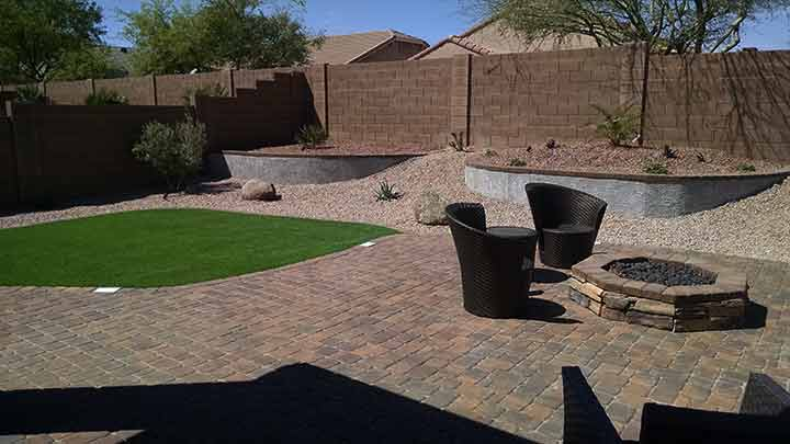 Az Backyard Landscape Synthetic Grass Planters