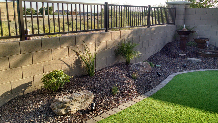 Small backyard landscaping az living landscape design for Small no maintenance garden