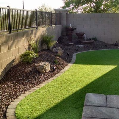Small Backyard Landscaping with Synthetic Lawn