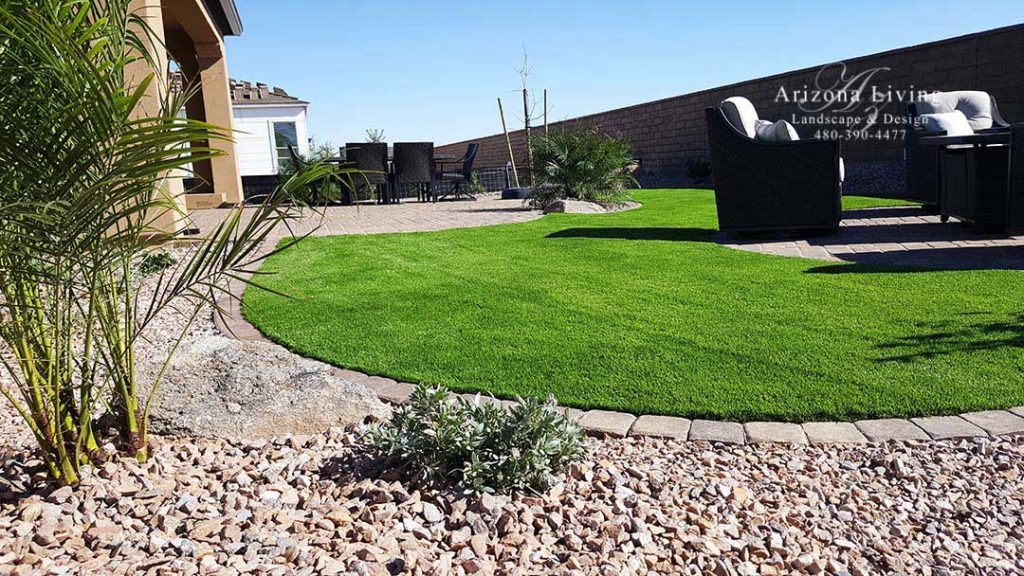 Encanterra back yard landscape with synthetic grass