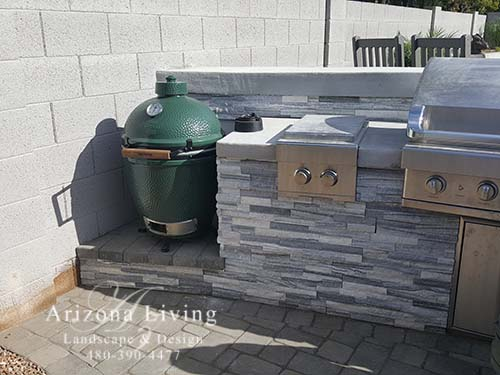 Built-in grill with smoker green egg