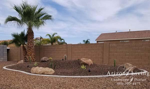 desert rock garden contrasting rock