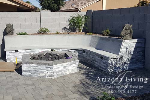gas fire pit with seatwall and planter